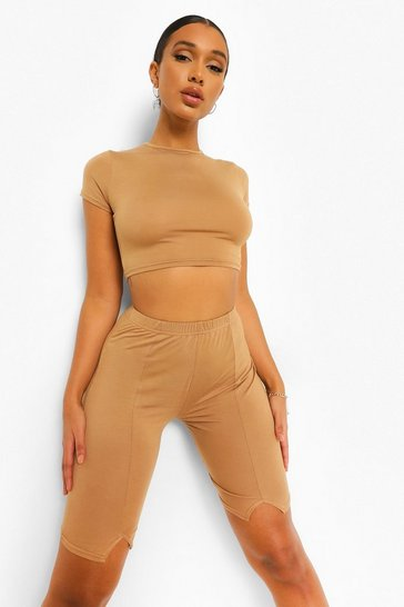Camel beige Beige Short Sleeve Crop Top