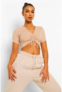 Stone beige Brown Rib Rouche Detail Crop Top