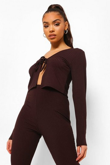 Chocolate brown Brown Rib Tie Detail Crop Top