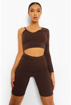 Chocolate brown Brown Rib One Shoulder Asymmetric Crop Top