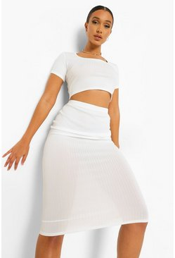 White Rib Bodycon Midi Skirt