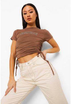 Chocolate brown Nashville Ruched Side Crop T-shirt