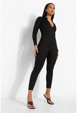 Black Rib Zip Down Jumpsuit