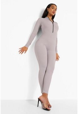 Grey Rib Zip Down Jumpsuit