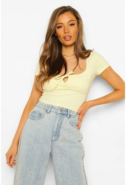 Lemon yellow Gathered Bust Tie Front Top