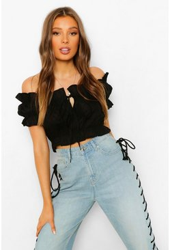 Black Woven Frill Crop Top