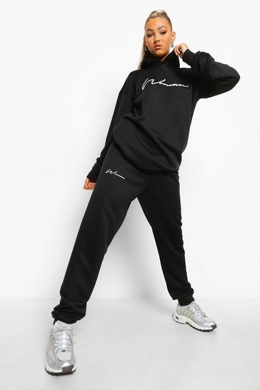 Black Tall Woman Hoody Tracksuit