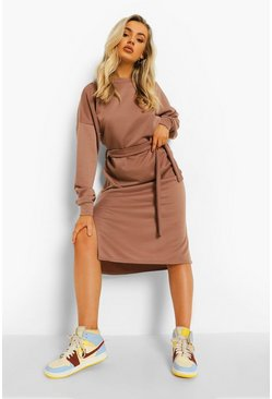 Chocolate brown Side Split Belted Sweat Dress