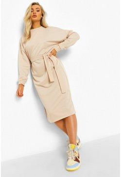 Ecru white Side Split Belted Sweat Dress
