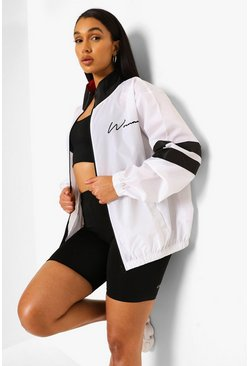 White Woman Oversized Windbreaker