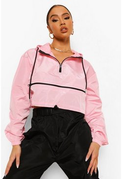 Pink Overhead Funnel Neck Windbreaker