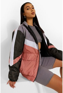 Pink Padded Panelled Jacket