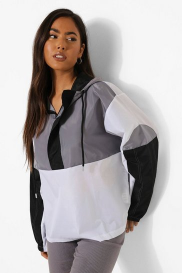 Grey Colourblock Oversized Windbreaker