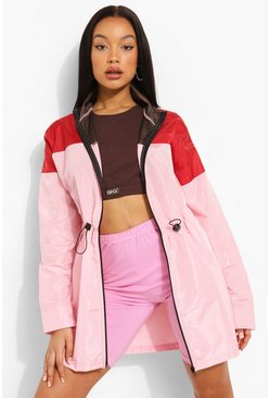 Pink Longline Colourblock Windbreaker