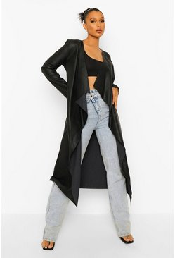 Black Waterfall Faux Leather Jacket