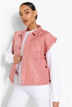 Rose pink Quilted Gilet