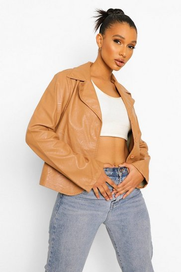 Mocha beige Faux Leather Crop Jacket