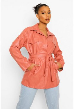 Rose pink Faux Leather Belted Jacket