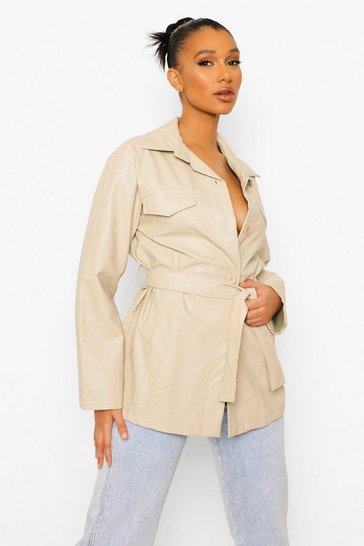 Stone beige Faux Leather Belted Jacket