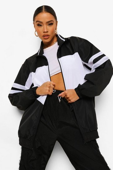 Black Oversized Colourblock Zip Through Windbreaker
