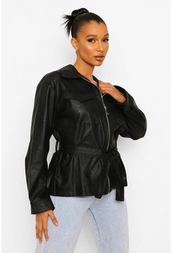 Black Contrast Stitch Faux Leather Jacket