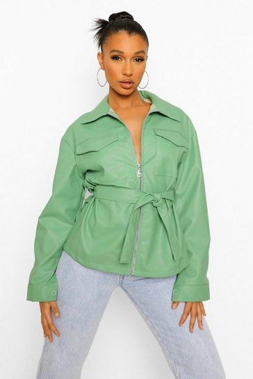 Sage green Contrast Stitch Faux Leather Jacket