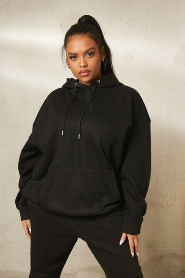 Black Recycled Plus Basic Oversized Hoodie