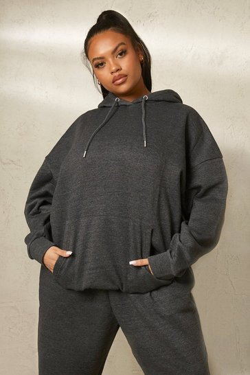 Charcoal grey Grey Recycled Plus Basic Oversized Hoodie
