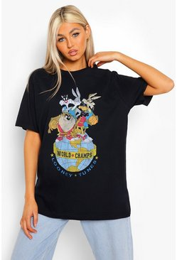 Black Tall License Looney Tunes Washed T-shirt
