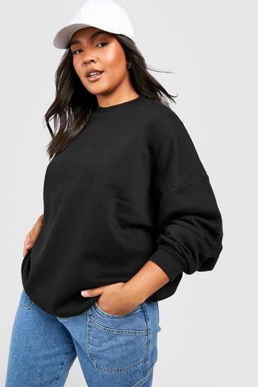 Black Recycled Plus Basic Oversized Sweatshirt