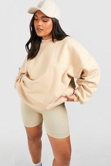 Stone beige Beige Recycled Plus Basic Oversized Sweatshirt
