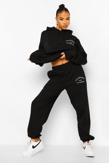 Black Embroidered Tracksuit