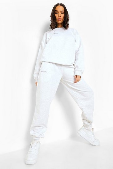 Ash grey Wellness Print Hooded Tracksuit
