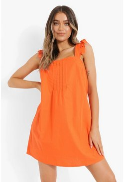 Orange Cotton Frill Strap Smock Dress