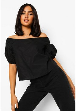 Black Cotton Bardot Puff Sleeve Top