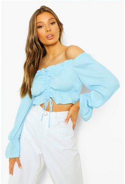 Blue Ruched Bardot Long Sleeve Crop Top