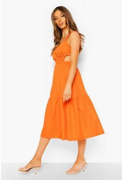 Orange Cotton Rouched Cut Out Midi Dress