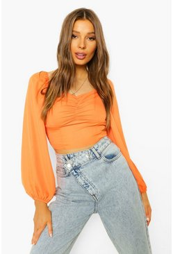 Orange Ruched Bust Long Sleeve Blouse