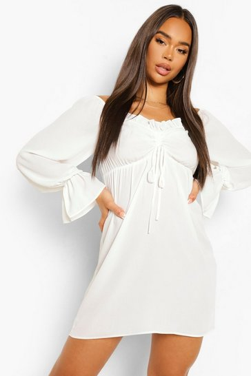 White Ruched Bardot Long Sleeve Mini Dress