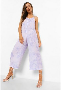 Tie Dye Strappy Culotte Jumpsuit, Lilac violett