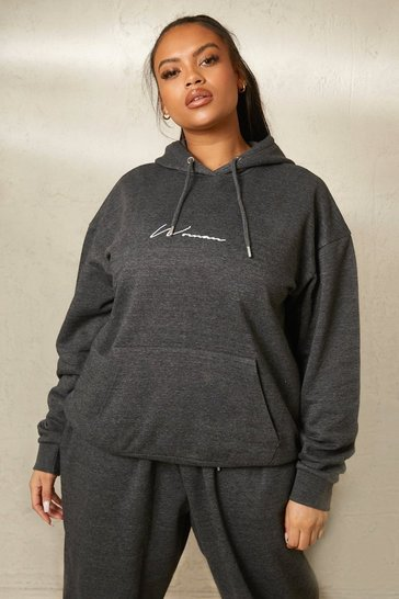 Charcoal grey Grey Recycled Plus Embroidered Woman Script Hoodie