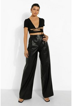 Black Asymmetric Wide Leg Leather Look Trouser