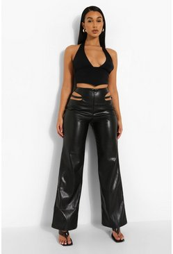Black Cut Out Detail Wide Leg Leather Look Trouser