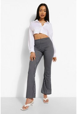 Black Dogtooth Flare Trouser