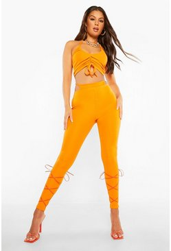 Orange Thong Front Rib Rouched Leggings