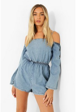 Mid blue blue Flared Sleeve Bardot Denim Playsuit