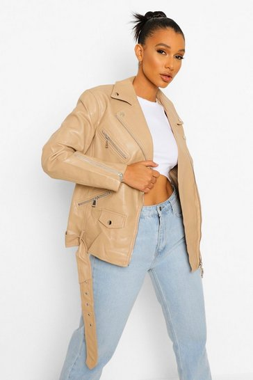 Beige Oversized Faux Leather Biker Jacket