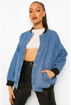 Mid blue blue Oversized Denim Varsity Jacket