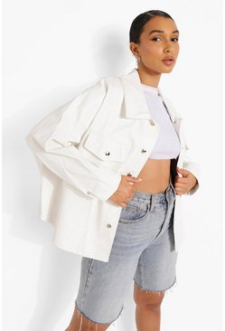 Cream white Faux Leather Shacket