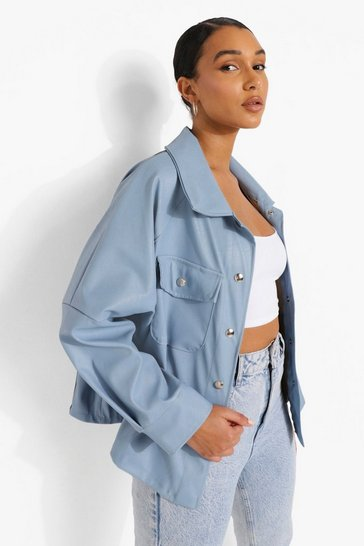Sky blue Faux Leather Shacket